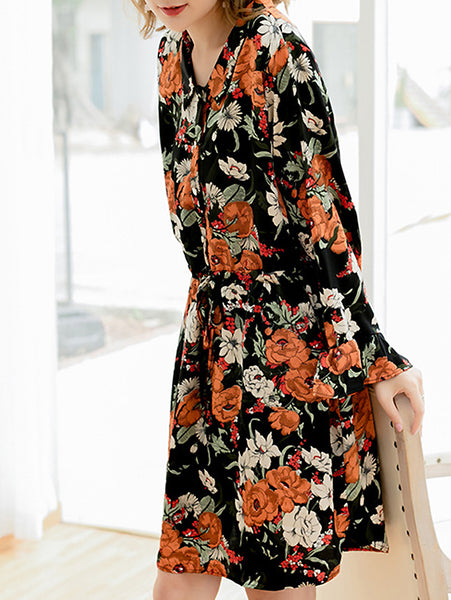 Chic Floral Print Falbala Sleeve Turn-Down Collar Loose Dress