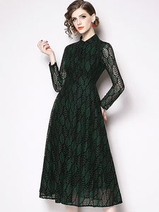 Vintage Elegant Lace Single-Breasted Stand Collar A-Line Dress