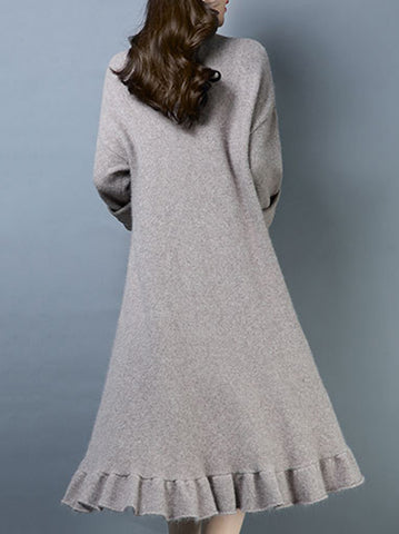 Casual Pure Color Thermal High Collar Falbala Hem Knitted Dress