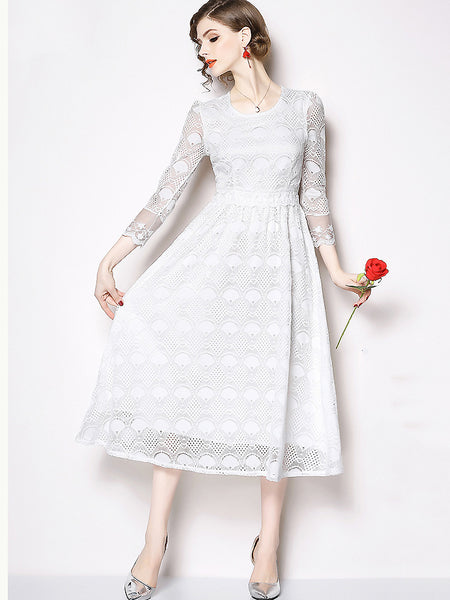 Chic Pure Color Lace O-Neck Long Sleeve Slim A-Line Dress