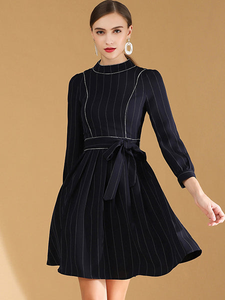 Chic Stripe Stitching O-Neck Long Sleeve Lacing A-Line Skater Dress