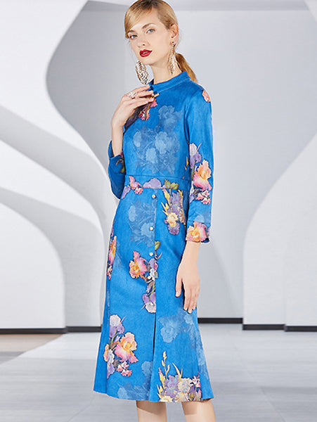 Folk Print Satin Half-Collar Long Sleeve Slit Cheongsam Dress