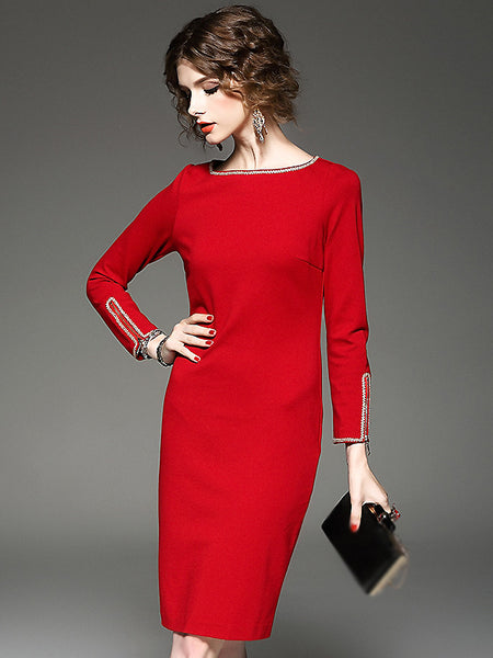 Fashion Pure Color Stitching 3/4 Sleeve Bodycon Dress