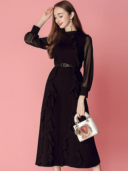 Elegant Falbala Pure Color O-Neck Long Sleeve Bodycon Midi Dress