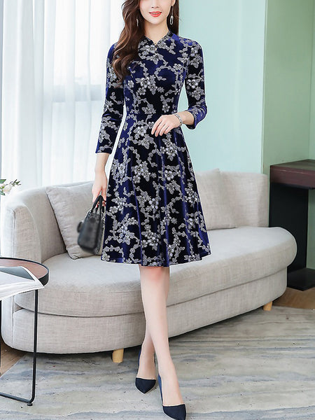 Vintage Cotton Print Stand Collar Fit & Flare Dress