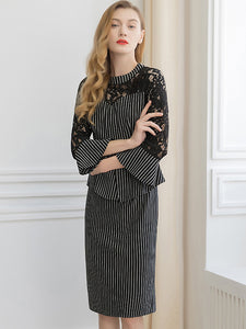 Suave Stripe Lace Stitching 3/4 Sleeve Lacing One-Step Dress