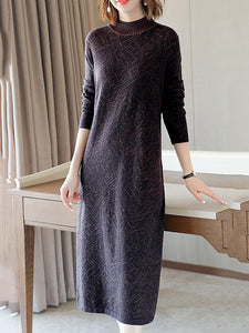 Simple Knitted Half-Collar Long Sleeve Shfit Midi Dress