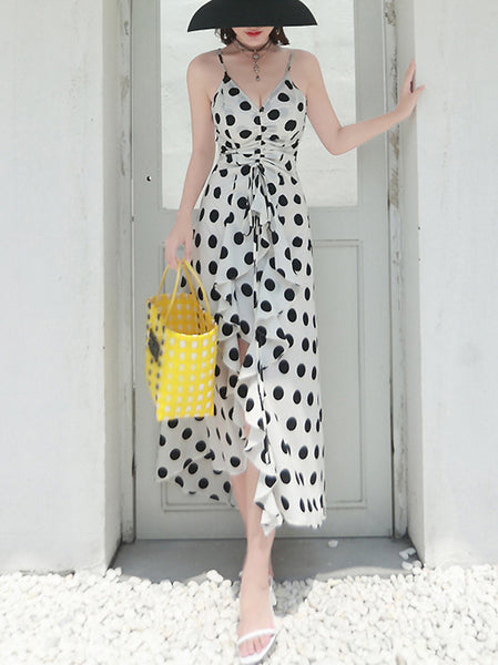 Holiday Polka Dots Ruffled Braces V-Neck Backless Slim Maxi Dress