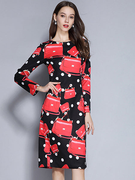 Praty Polka Dot O-Neck Long Sleeve Straight One-Step Dress