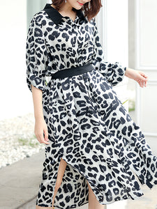 Classic Leopard Print Turn-Down Collar Belted Loose Shirtdress