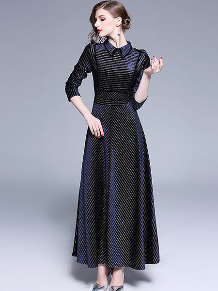 Elegant Velour Big Hem Collect Waist Turn-Down Collar Slim Maxi Dress