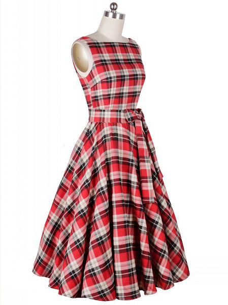 Vintage Plaid O-Neck Sleeveless Bowknot Irregular Big Hem Dress