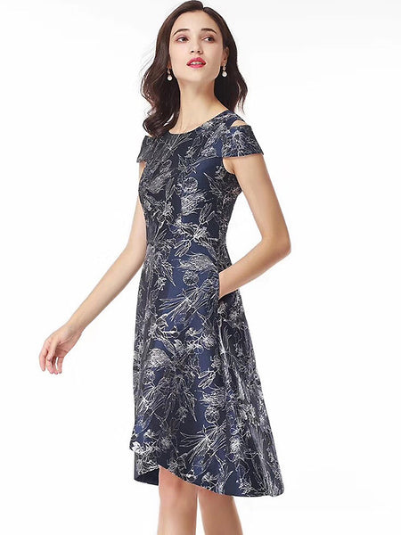 Print O-Neck Strapless Collect Waist Big Hem A-Line Dress