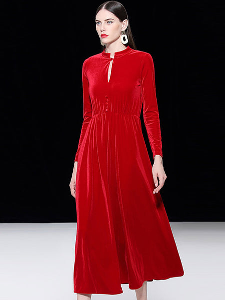 Elegant Pure Color Velour Stand Collar Long Sleeve Slim Fit & Flare Dress