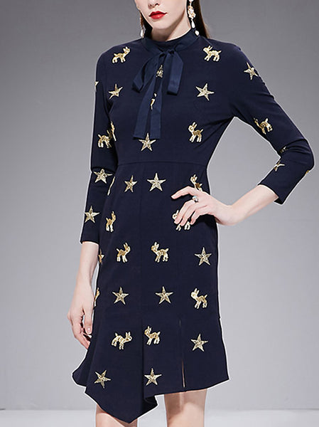 Chic Embroidery Stand Collar Irregular Hem Slim Bodycon Dress