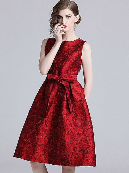 Noble O-Neck Sleeveless Lacing Collect Waist Jacquard Midi Dress
