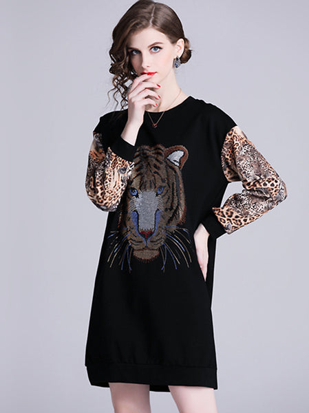 Casual O-Neck Tiger Pattern Leopard Print Sleeve Loose Waist Dress