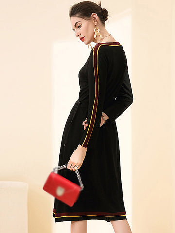 Casual Knitted O-Neck Long Sleeve Elastic waist Sweater Dress
