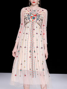 Chic Embroidery Mesh O-Neck Long Sleeve Big Hem Maxi Dress