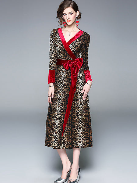 Chic Stitching V-Neck Long Sleeve Lacing Maxi Dress