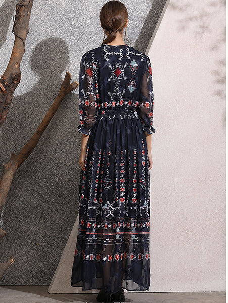Vintage Print V-Neck 3/4 Sleeve Collect Waist Chiffon Big Hem Maxi Dress