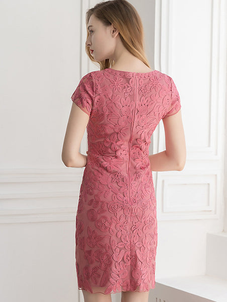 Pure Color Embroidery O-Neck Short Sleeve Midi One-Step Dress