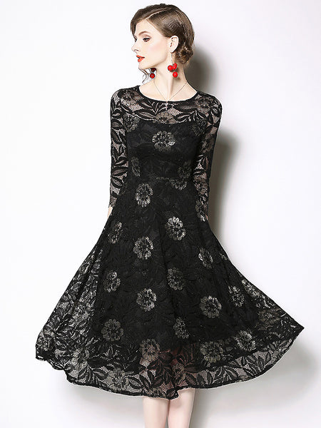 Party Embroidery O-Neck Lace Hollow Out 3/4 Sleeve Midi Dress