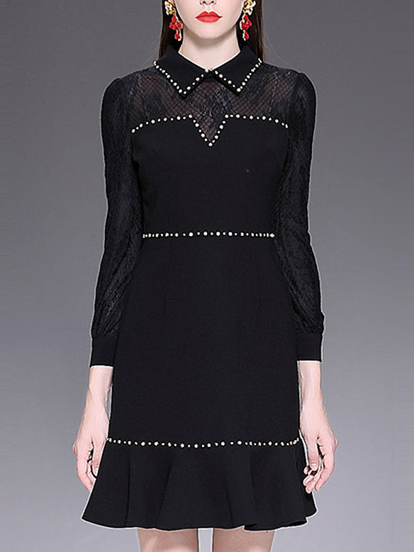 Fashion Beaded Lace Stitching Turn-Down Collar Falbala Skater Dress