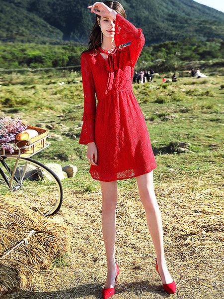 Pure Color Hollow Out Lace Bow Tie Flare Sleeve A-Line Dress