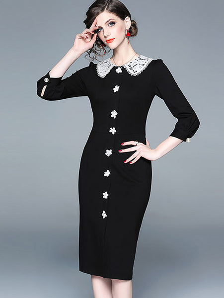 Lace Stitching Peter Pan Collar 3/4 Sleeve Bodycon Dress