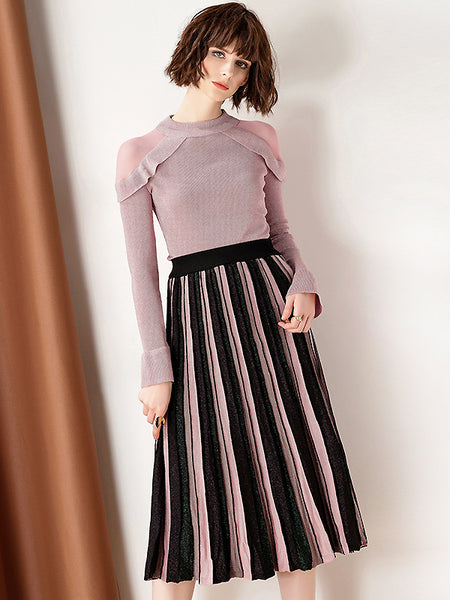 Sweet Pure Color Strapless Knitwear & Stripe Elastic Pleated Dress