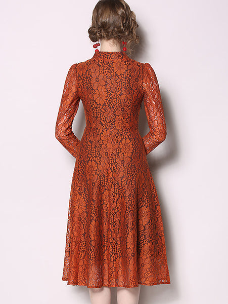 Simple Lace V-Neck Long Sleeve Collect Waist Floral Print A-Line Dress