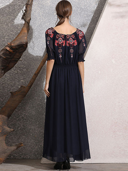 Chiffon Embroidery Boat Neck Off Shoulder Puff Sleeve Big Hem Maxi Dress