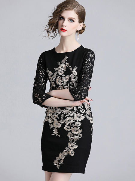 Party Embroidery O-Neck Lace Hollow Out Sleeve One-Step Dress