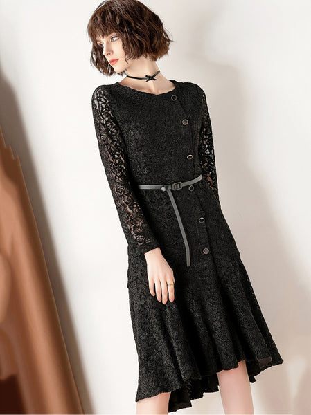 Brief Stitching Lace O-Neck Long Sleeve Hollow Out Single-Breasted Mermaid Dress