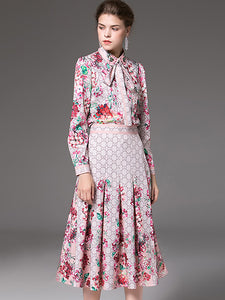 Elegant Floral Print Beaded Bow Tie Shirt & Slim Pleated A-Line Midi Skirt