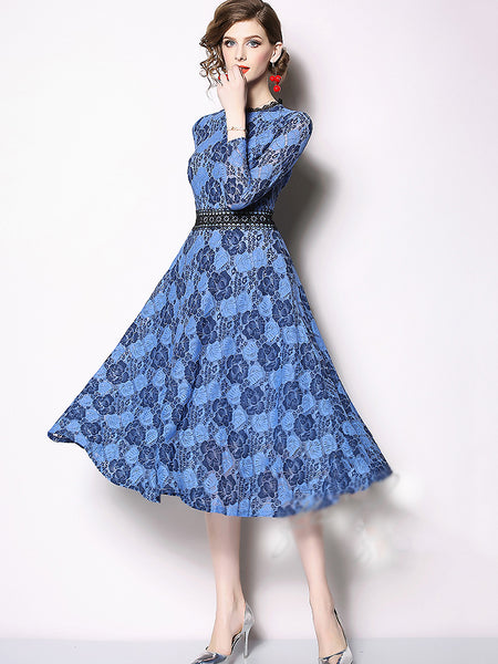 Noble O-Neck Long Sleeve High Waist Print Lace Hollow Out Midi Dress