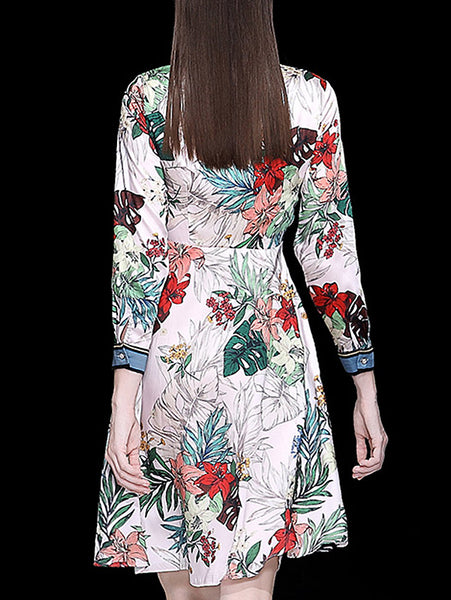 Vintage Floral Print Beaded Bow Tie Long Sleeve Slim Midi Dress