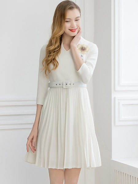 White V-Neck Embroidery 3/4 Sleeve Collect Waist Belt Pleated Midi Dress