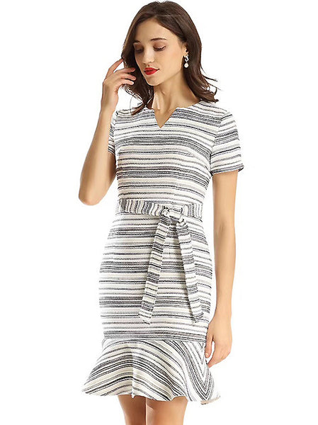 Cotton Stripe Stitching V-Neck Short Sleeve Mini Dress