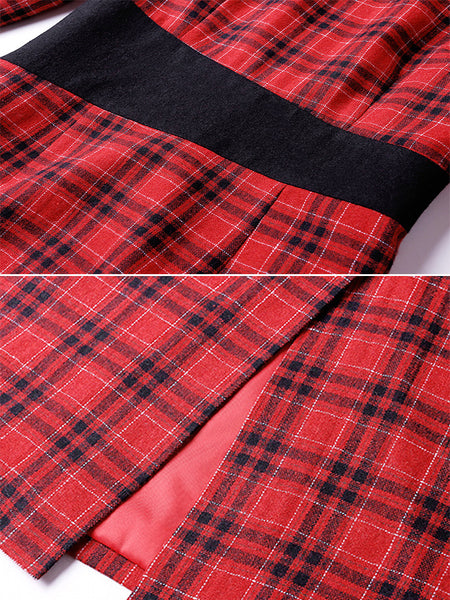 Simple Plaid Polo Collar Long Sleeve Stitching One-Step Dress