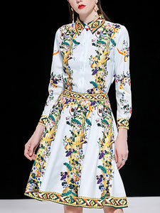 Stylish Beaded Turn-Down Collar Shirt & Floral Print A-Line Skirt Two Piece Set