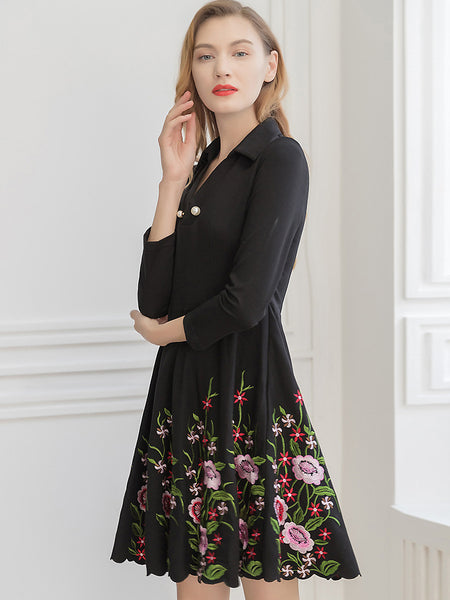 Chic Embroidery Pearl Beaded Turn-Down Collar 3/4 Sleeve Slim Skater Dress