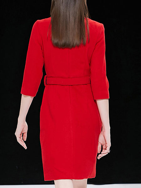 Elegant Pure Color Beade Paillette 3/4 Sleeve Belted Midi Dress