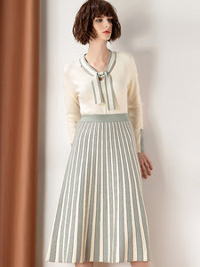 Two Pieces Bowknot Collar Long Sleeve Knitted Sweater & Pleated Dress