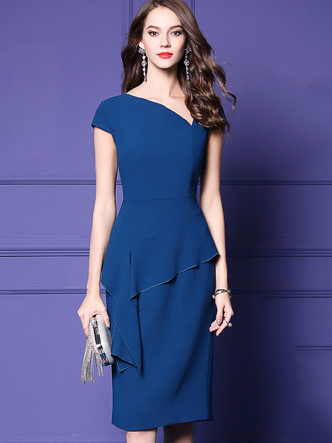 Stylish Falbala Stitching V-Neck Short Sleeve Pencil Dress
