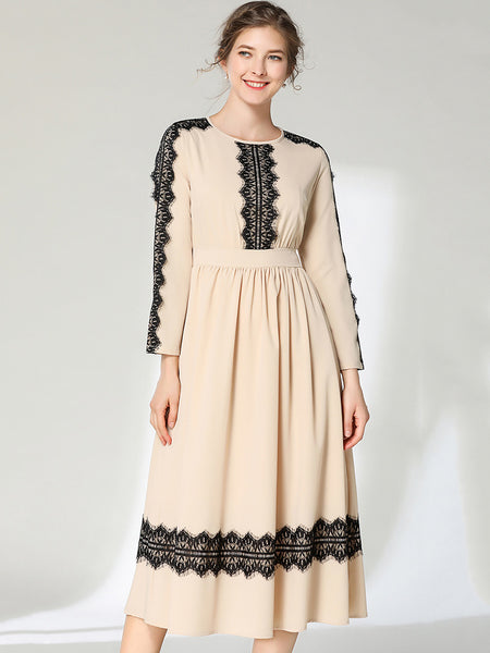 Simple Stitching Lace O-Neck Long Sleeve High Waist Fit & Flare Dress
