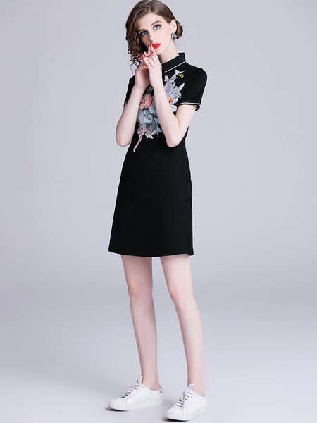Simple Polo Collar Short Sleeve Single-Breasted A-Line Mini Dress