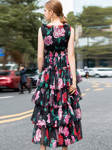 Sweet Rose Print V-Neck Sleeveless High Waist Big Hem Layered dress