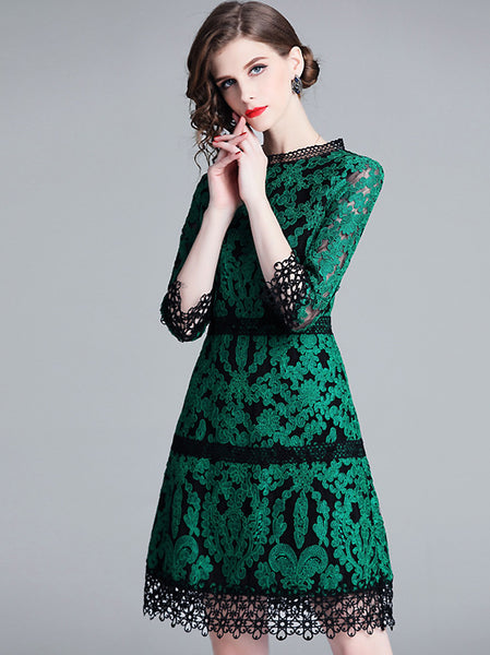 Lace Embroidery O-Neck 3/4 Sleeve Mesh A-Line Midi Dress
